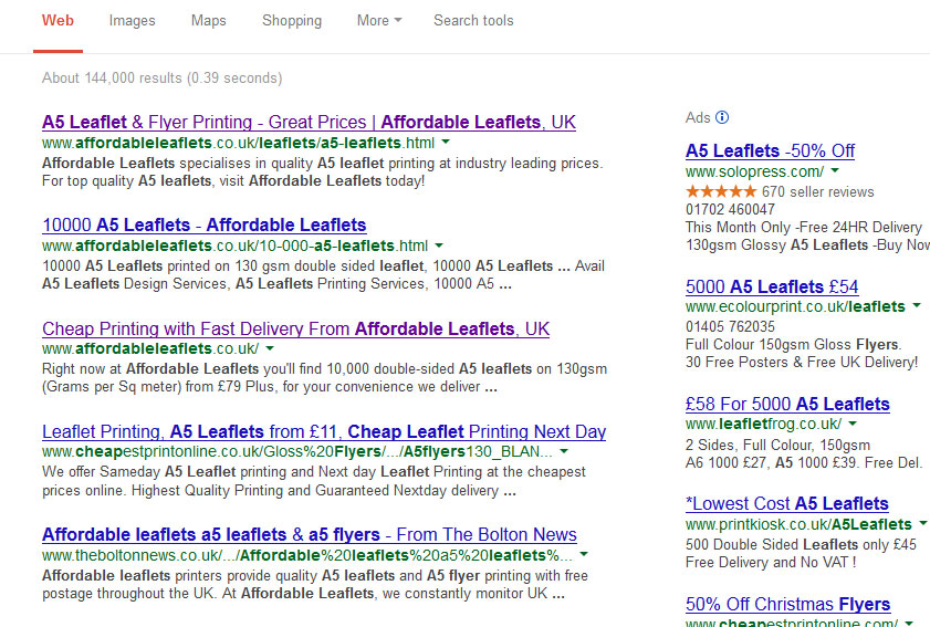 affordable leaflets seo